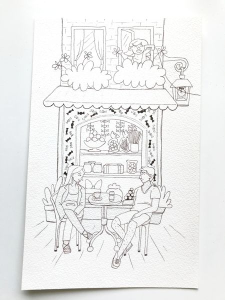 schaufenster und café outlines zeichnung