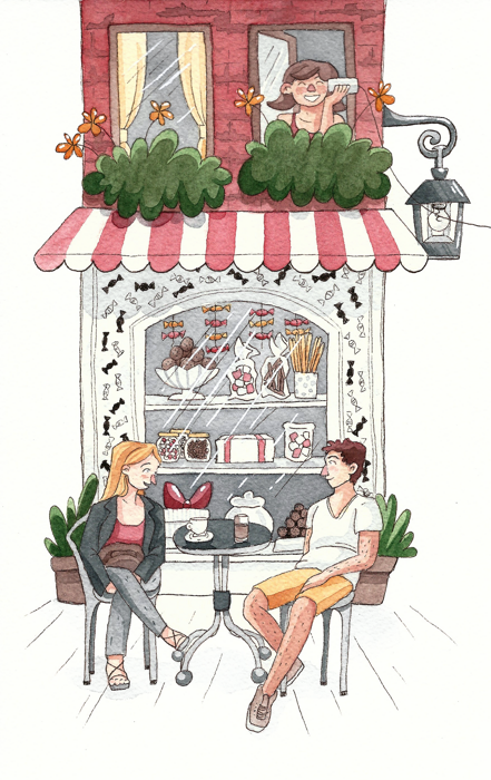 schaufenster café aquarell illustration