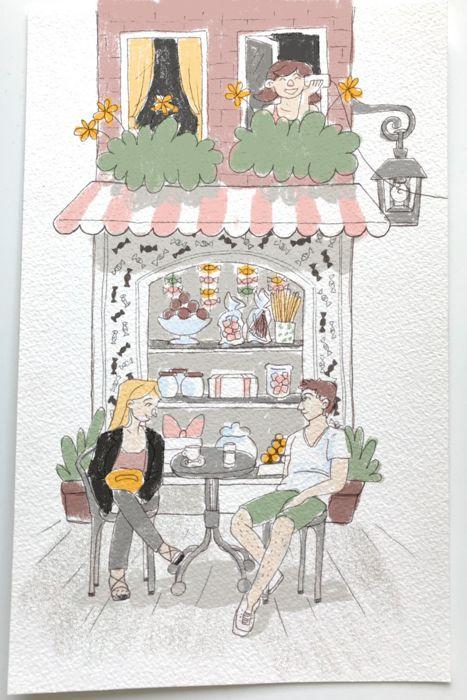schaufenster farbtest farbschema illustration