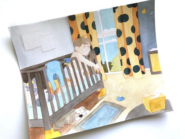 nursery work in progress watercolor illustration laura perlitz papierzucker
