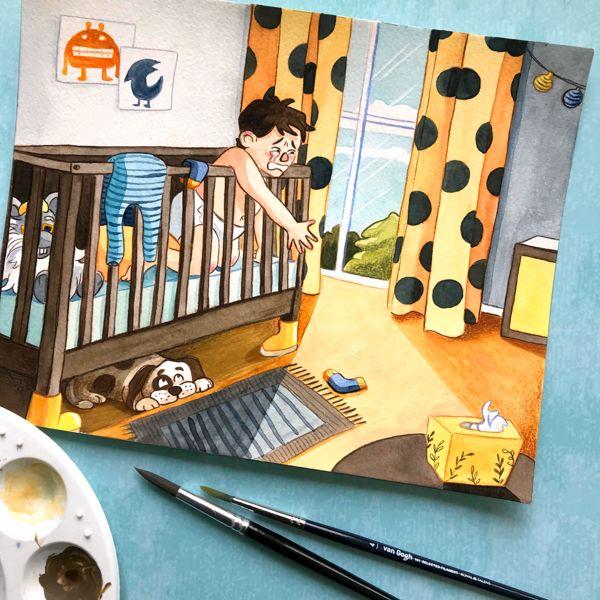 nursery watercolor illustration laura perlitz papierzucker