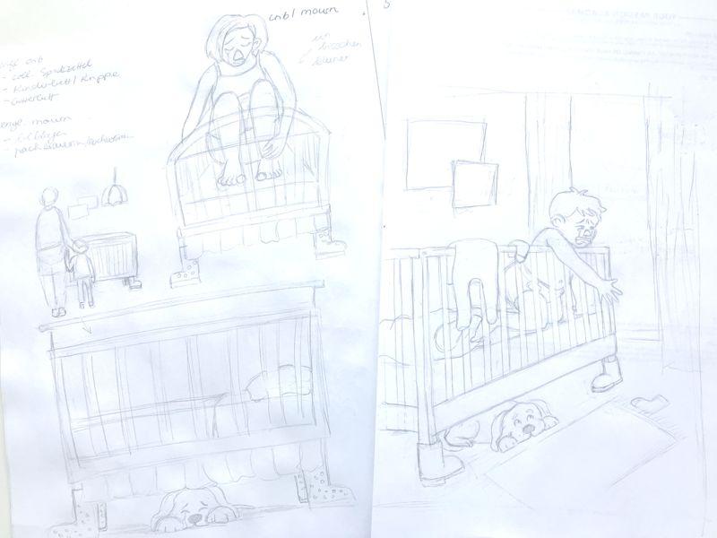 crib mourn pencil sketch laura perlitz papierzucker