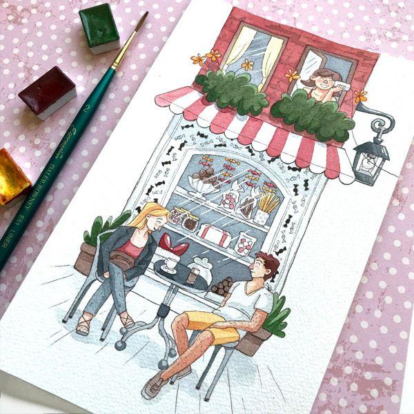 süßigkeiten schaufenster aquarell zeichnung