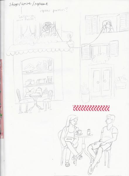 skizzenbuch schaufenster leute trinken kaffee