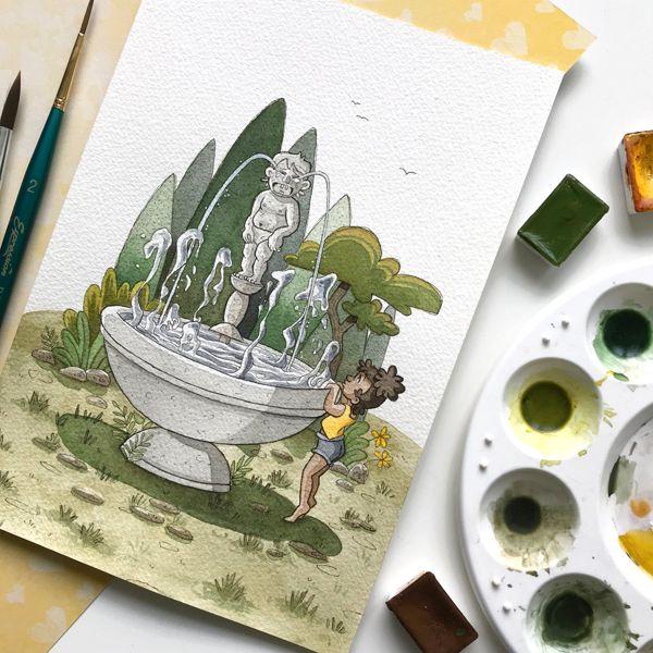 waterworks fountain statue girl children illustration watercolor