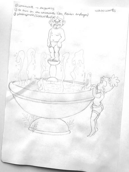 wasserspiele tränen bleistift skizze