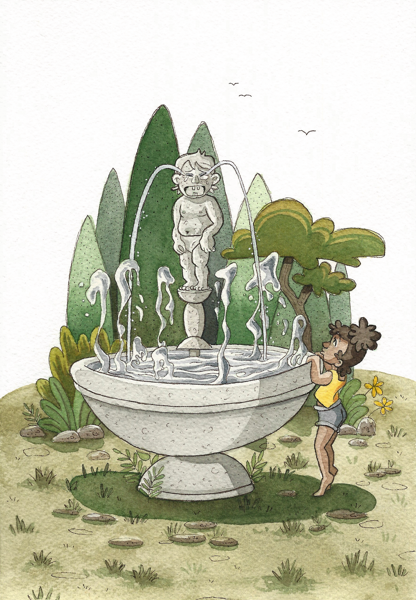 waterworks fountain statue girl children illustration watercolor scan