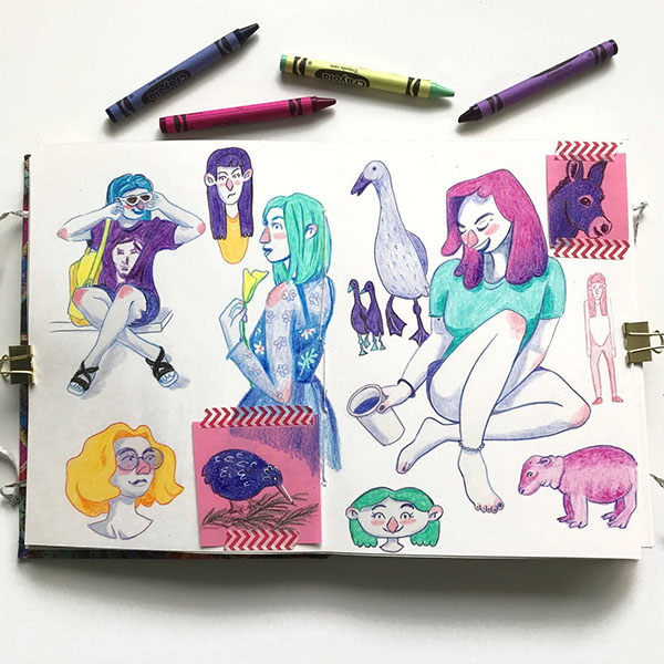 Crayon Sketches in Handmade Sketchbook