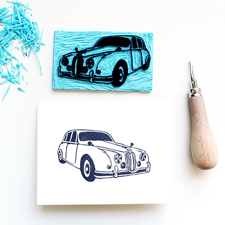 handgeschnitzter Stempel mit Jaguar-(Auto)-Motiv