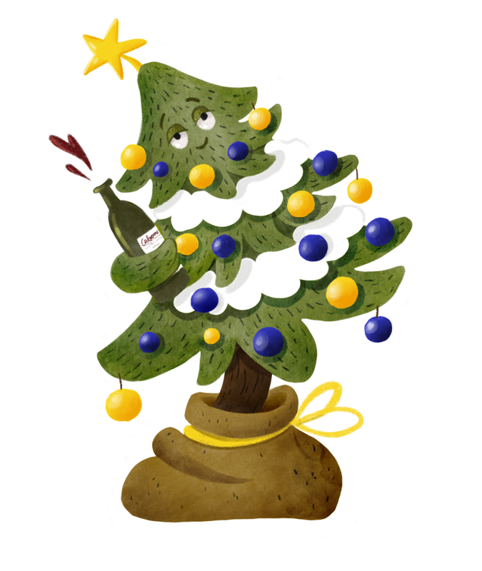 Wobbly christmas tree with sleepy eyes is holding a bottle of wine and is spilling it around.