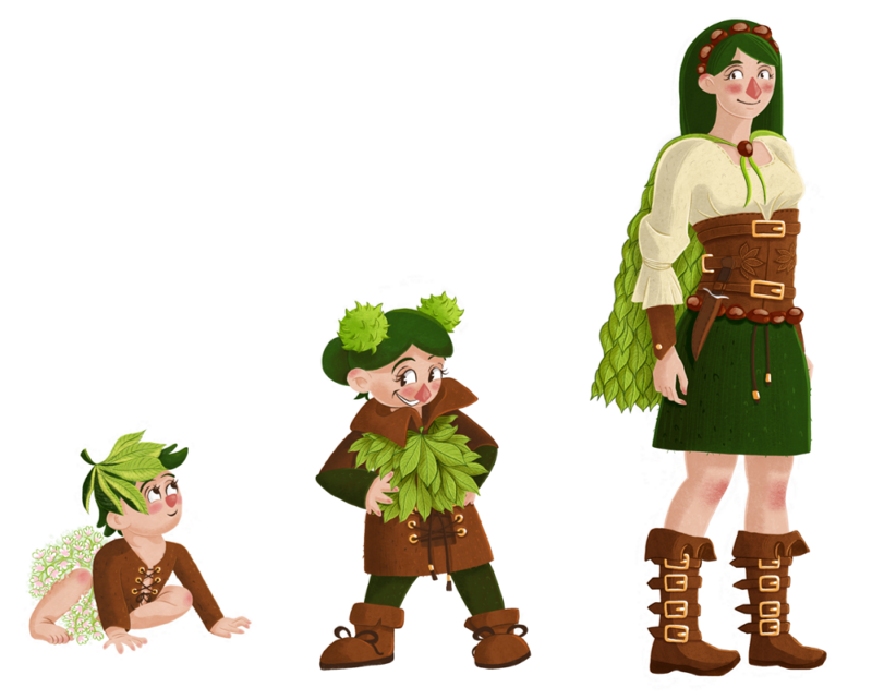 Character design: three girls in different ages wearing outfits inspired by different parts of chestnuts.
