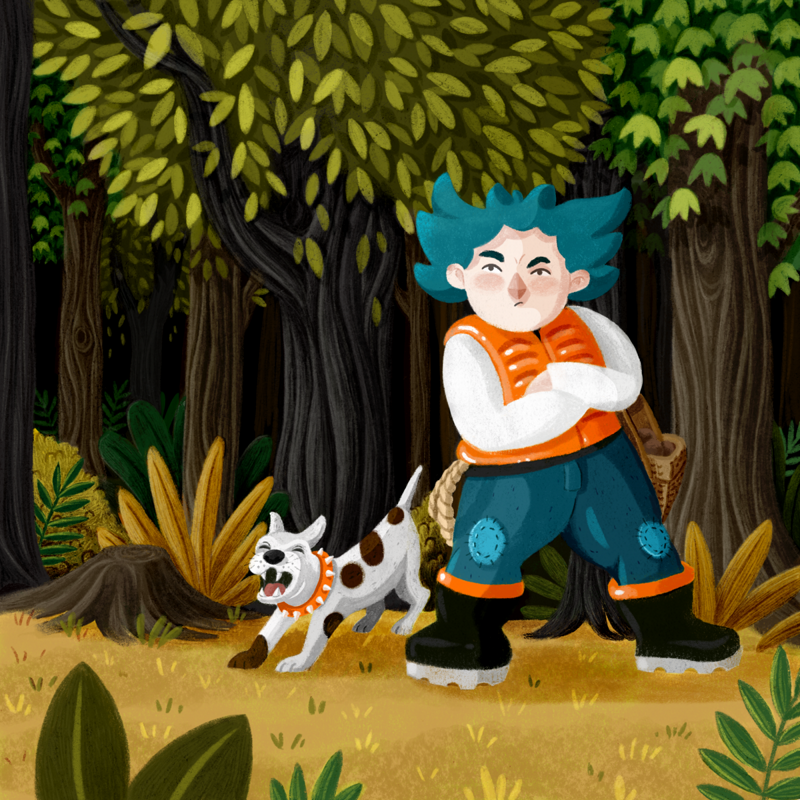 A boy with blue spiky hair having a defensive attitude stands in front of a forest. Next to him you can see a little barking dog.