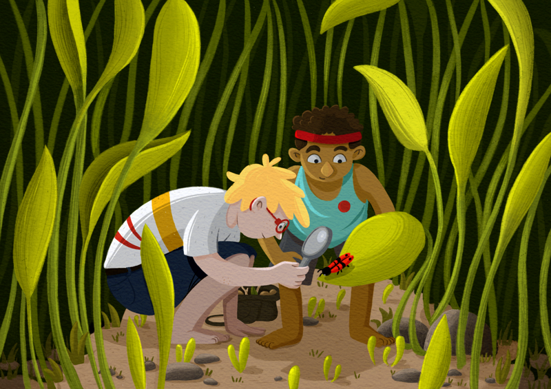 Two boys in a green environment squatting on the floor and investigating a red bug through a magnifier.