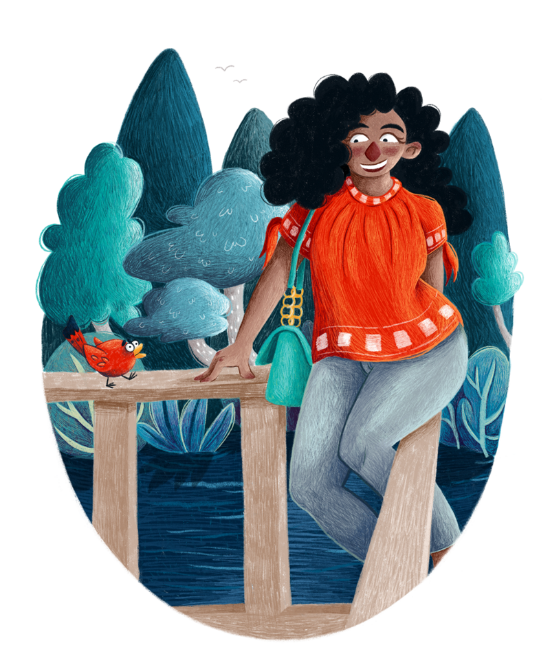 Frau mit rotem Shirt und wallenden Haaren sitzt auf Terrassengeländer, neben ihr ein Vogel, der die gleiche rote Farbe hat und sie anzwitschert.
