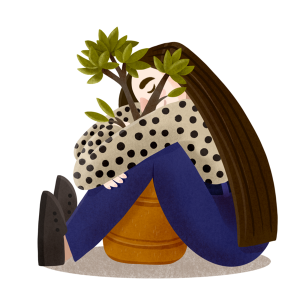 Young woman with dotted shirt hugs a potted plant.