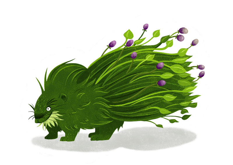 Creature design: a monster that looks like a porcupine made out of plants and berries.