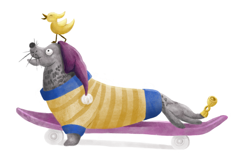 Seal wearing a sweater and a pom-pom hat skateboards with a little bird on its head and a little bell on its flipper,