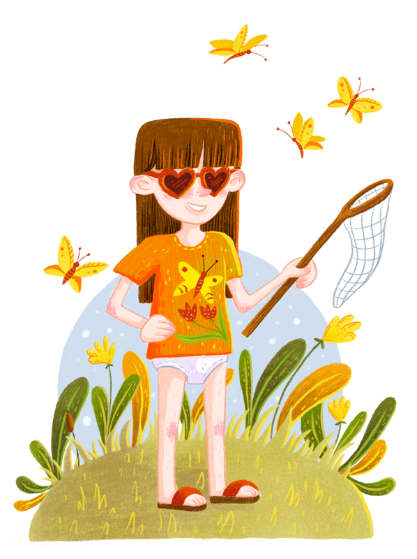 A little girl only wearing a shirt, heart-shaped glasses and panties. She holds a butterfly net and all around her are butterflies buzzing.