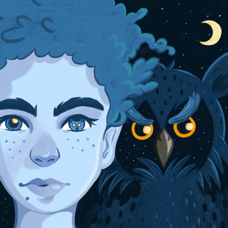 Portrait of a woman. In her left pupil you can see the head of an owl reflecting. In the background there is a huge owl looking down to you from the sky.