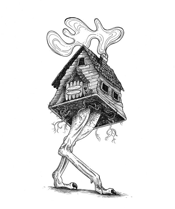 Baba Yaga's house, also known as izbushka, running on two ostrich legs.
