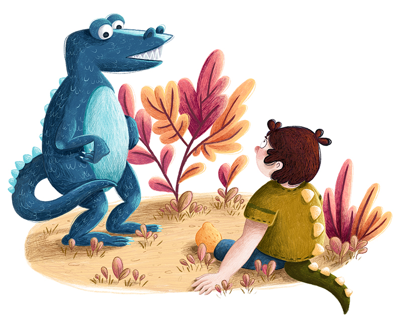 A blue dinosaur and a little boy with a green dinosaur tail are facing each other. In the background you can see some colorful plants.