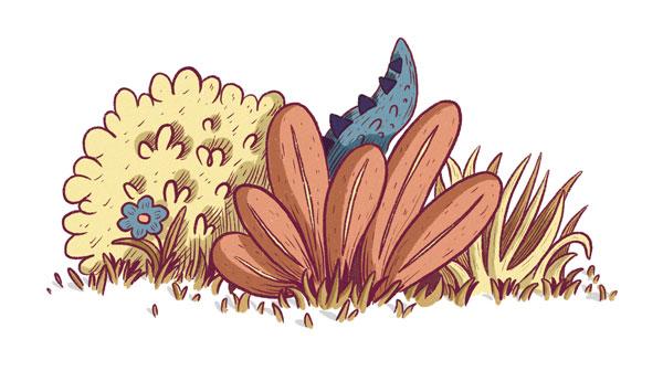 Aus einem Gebüsch lugt ein Dinosaurierschwanz.