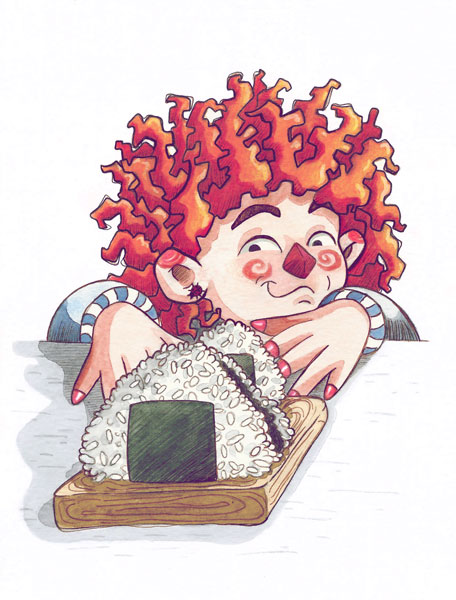 A child with wild red hair reaching for an onigiri plate.