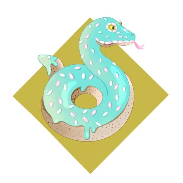 Farbenfrohes Design einer Schlange, die aussieht wie ein Donut mit Zuckerguss und Streuseln.