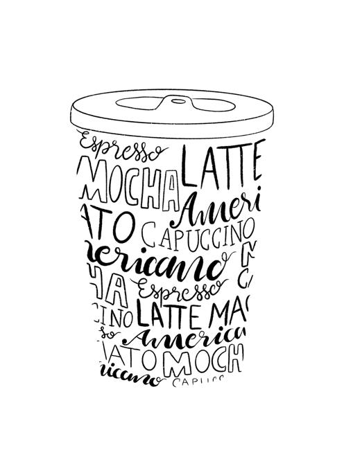 To-Go-Kaffeebecher, der nur aus einem Plastikdeckel und Handlettering besteht, das die Silhouette des Kaffeebechers ausfüllt.