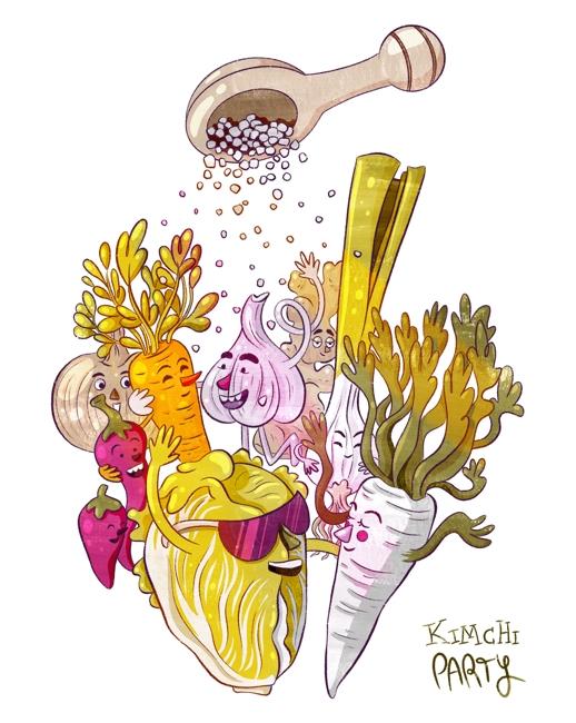 Kimchi-Zutaten tanzen fröhlich auf einer Party und werden von oben mit Salz bestreut.