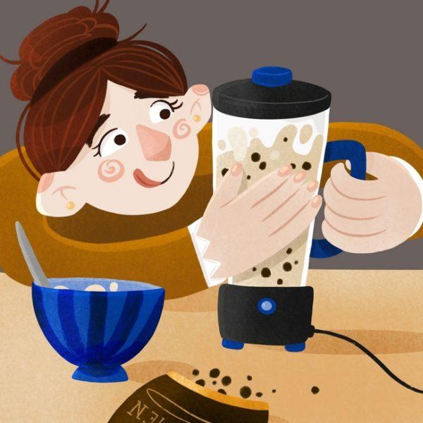 Ein Mädchen bereitet sich in einem Mixer einen leckeren Smoothie oder Milchshake zu.