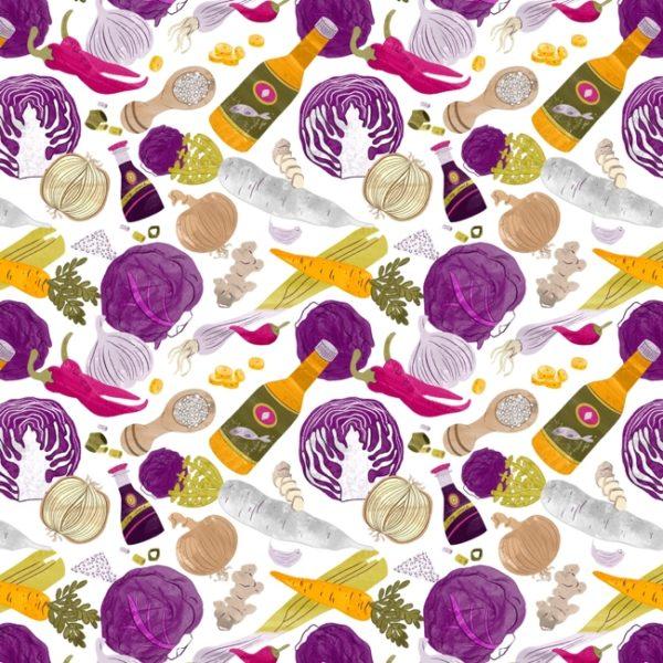 Ein Endlos-Muster, das alle Zutaten für Rotkohl-Kimchi abbildet.