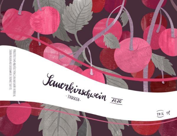 Etikettendesign für Sauerkirschwein. Die Mischung aus traditionellen und digitalen Techniken gibt dem Etikett einen organischen und gleichzeitig modernen Look.