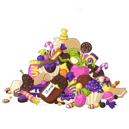 Ein hellgrüner Frosch sitzt auf einem riesigen Haufen verschiedenster Süßigkeiten.
