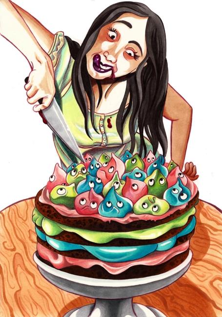 Eine verrückt aussehende Frau ist gerade im Begriff eine Torte anzuschneiden, auf der lauter bunte Creme-Zipfel mit ängstlichen Gesichtern sitzen.