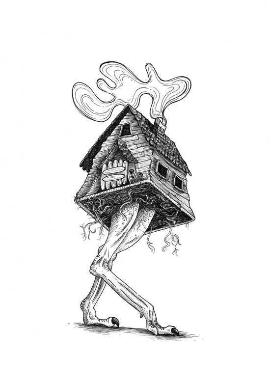 Black and white illustration of baba yaga's hut walking on ostrich legs.
