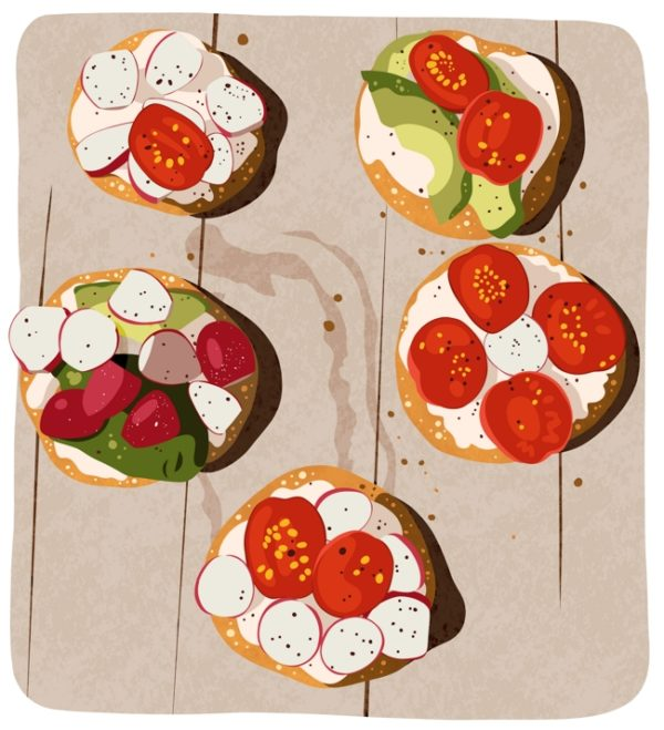 Illustration of breakfast buns topped with avocado, cream cheese, radishes and tomatoes.