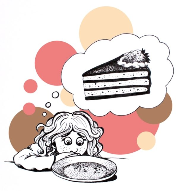 A girl is sitting in front of an emptied plate. Only some crumbs are left. she has a sad expression on her face and you can see a hughe piece of cake in a thought bubble.