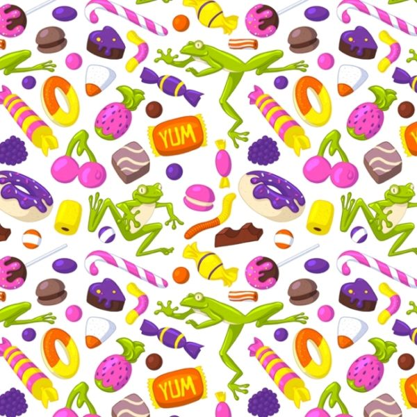 A seamless pattern of different sweets and light green frogs on a white background.
