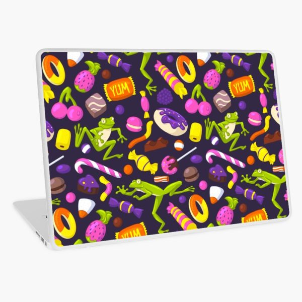 A seamless pattern of different candy and light green frogs printed on a laptop foil.
