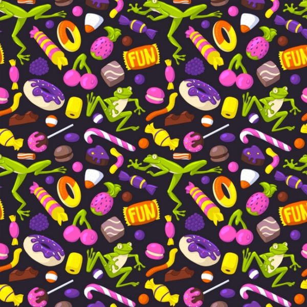 A seamless pattern of different sweets and light green frogs on a dark background.