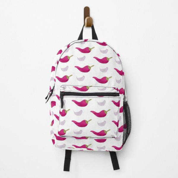 A white backpack printed with a chili and garlic pattern.