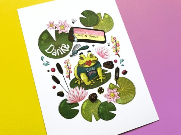 This card was created during the second corona lockdown. It shows a frog sitting on a lily pad. Around him you can see more water lilies and liliy pads, insects as well as different sweets.