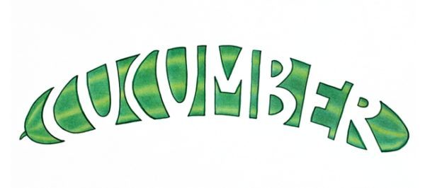 Pencil illustration of a cucumber. Negative space is used to form the word