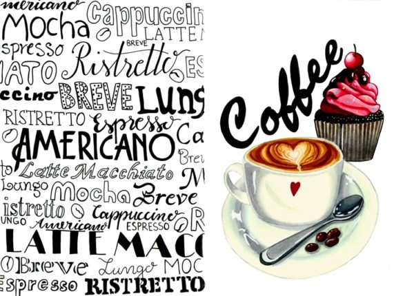 A sketchbook spread showing handlettered coffee variants on the left and a cup of coffee with a cupcake on the right.