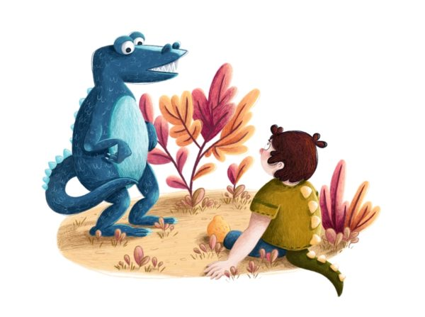 A blue dinosaur and a little boy in a dinosaur costume are looking at each other. The boy is sitting on the ground and looking up at the dino.