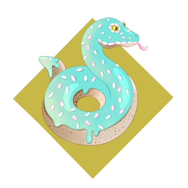 Creature Design: A snake that looks like a donut with turquoise frosting and sprinkles.