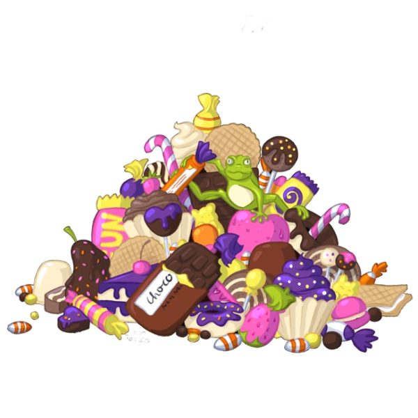 Illustration of a huge pile of candy. On top of the candy is sitting a bright green frog.