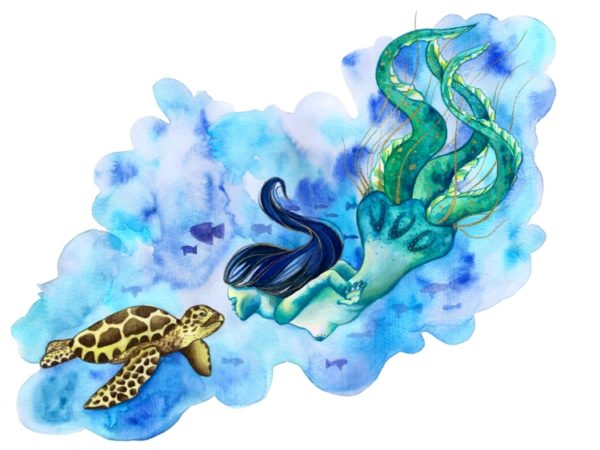 Watercolor painting of a turtle and a jellyfish mermaid with tentacles.