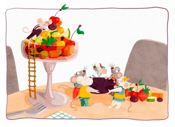 Some mice are stealing fruits from a fruitcup. One mouse is on top of the fruitcup throwing down the fruits while the others are waiting on the ground holding a cloth up in order to catch the falling food.